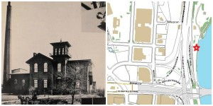 (Left: CT River Pumping Station circa 1870; Right: approximate location) (Photo: Yesterday & Today: 100 Years of Water Supply. 1956: Metropolitan District Commission)