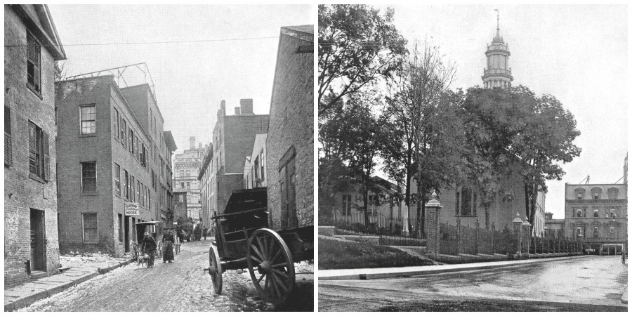 Gold Street before & after 1897 changes (Photo: CT State Library PG 400 Hartford Collection)